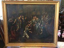 Antico dipinto olio su tela'700 scena biblica-antiquandogenova-