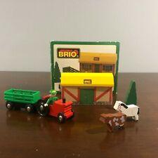 Brio Genuine Farm Set #33585 Barn Tractor Wagon Horse Tree Lot 1997 With Box