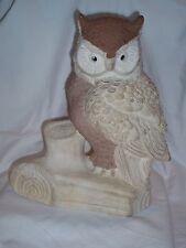 """Vintage 10.5"""" Tall Brown & Beige Ceramic Owl Statue Figurine On Stump Log"""
