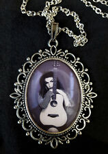 Amy Winehouse Large Antique Silver Pendant Necklace Music Back 2 Black CD Guitar