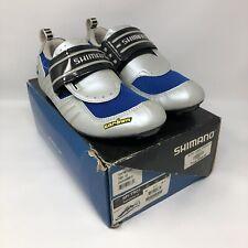 Classic SHIMANO SH-TR01 Mens Carbon Fiber Tri Shoes EU 42 US 8.5 Silver Blue NOS