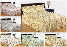 Quilted Vintage Country Floral Fitted Comforter Bedspread Set Single Double King