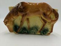 Vintage Brown Horse Ceramic PLANTER Container .
