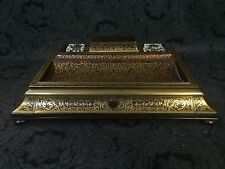 Fine French Empire Boulle Red Tortoiseshell & Brass Inlay 1870 Antique Ink Desk