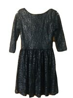 Boohoo Black/Silver Shimmer Lace Low Back Party Skater Dress Size 8