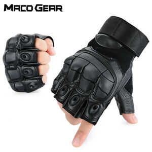 Military Tactical Leather Fingerless Gloves Airsoft Paintball Shooting Hunting