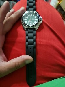 Vintage Croton men's watch black rubber band Green Face pre owned
