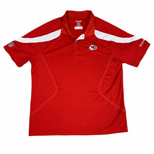 Kansas City Chiefs Polo Shirt Mens Large Red White Reebok NFL Football Adult