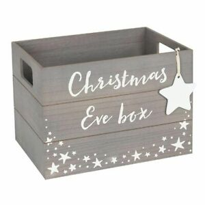 Wooden Christmas Eve Box, Grey wood box with white star, Scandi Style, Wooden Cr