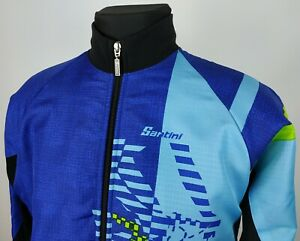 Santini Mens Long Sleeve Fleece Lined Jacket Jersey Insulated Size L