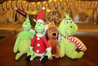 New Dr Seuss How the Grinch Stole and dog Plush Toy Christmas Gift 4pcs