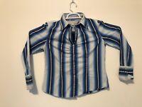 Tommy Hilfiger Women's Striped Button Blue Shirt Casual Top Shirt Long Sleeve L