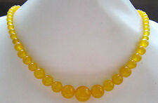 "Natural 6-14MM Yellow Jade Round Tower Beads Gemstone Necklace 17.5"" AAA"