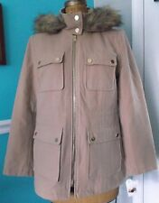 JACLYN SMITH CAMEL COAT - REMOVABLE HOOD - FAUX FUR TRIM - SIZE SMALL - NWT