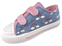 'Chatterbox' dreamer Girls Denim Canvas Pump Flashing Lights Trainers Shoes