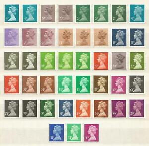 GB QEII 43 Decimal Machin Definitive 2p to 75p Litho Stamps U/M