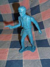 Vintage Plastic Gunman  ?  Lawman Blue 4 3/4 Inch High  Needs a Bath