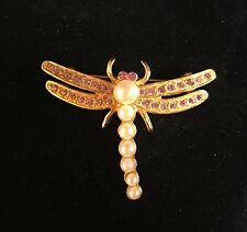 VINTAGE DRAGONFLY PIN BROOCH Faux Pearl Pink Rhinestone Wings