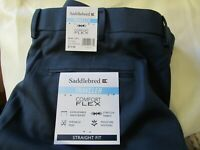 Saddlebred Men Dress Pant Blue Comfort Flex Traveler Straight Fit Flat 40 x 29