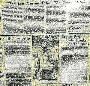 """Vintage Newspaper Golf 1971 Lee Trevino  Misses Short Putt  24""""x15"""""""