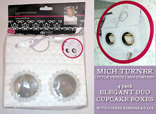 Mich Turner 4 elegante DUO TWIN Cupcake Box Ribbon Tag Bianco Damasco Little Venice