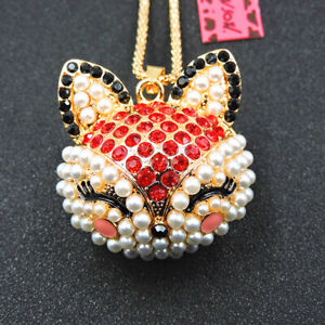 Betsey Johnson Red Crystal Cute Pearl Fox Pendant Sweater Chain Necklace