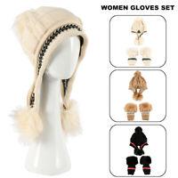 Fashion Women Winter Beanie Hat Gloves Set Warm Knit Wool Pom Pom Hat Cap Gloves