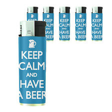 Butane Refillable Gas Lighter Set of 5 Keep Calm and Have a Beer Design-006