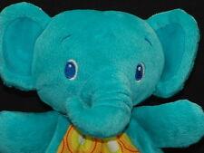 BRIGHT STARS BLUE GREEN TEAL ELEPHANT BABY TEATHING RING PLUSH STUFFED ANIMAL