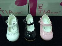 NEW GIRLS BABY-TODDLER SPANISH STYLE FIRST PRAM / WALKING SHOES WHITE-IVORY-PINK