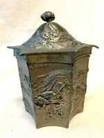 CHINESE BRASS  / BRONZE  DRAGON TEA CADDY WITH INNER LID 12.5cm x 10cm