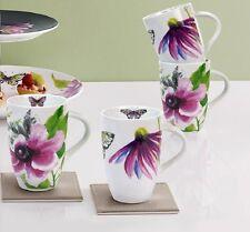 BN Next Set Of 4 Porcelain Exotic Bloom Mugs Floral Butterflies Summer Vibrant