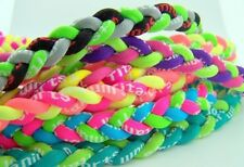 Lot of 10 Titanium Tornado Cord Sports Athletic Necklace in Assorted Neon Colors