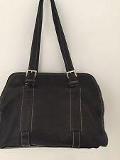 Authentic Prada Borsa Pelle 1604 Nero Black Leather Double Strap Handbag (GOOD)