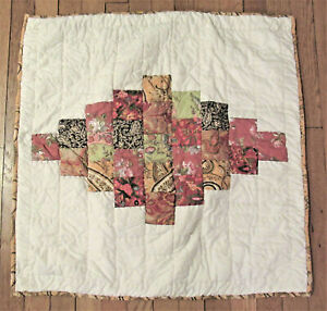 """Pottery Barn Patchwork Quilted Euro Pillow Sham Gold Green Red 26X26"""" New"""