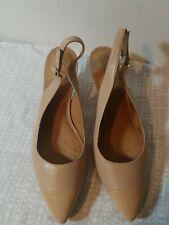 797e0a5bab48 Clarks Artisan Womens Size 9 Nude Slingback Kitten Heel Toe Cap Shoes EUC