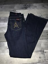 7 For All Mankind  A-Pocket Flare Mid-Rise Jeans Dark Blue 24 Short Pre-onwed