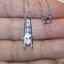 5 Stone Diamond Alternatives Journey Ladder 1 inch long Pendant Necklace 14k 925