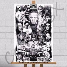 Rap Hip Hop Stars Canvas Print JayZ Eminem Notorious BIG Snoop Dog Tupac 2Pac A3