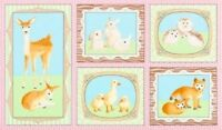 "23"" Fabric Panel - Robert Kaufman Fawns Friends Baby Rabbit Deer Fox Duck Pink"