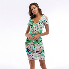 Summer V-Neck Sexy Short Sleeves Women's Slim Gown Shift Dresses S-2XL