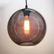 Modern Vintage Pendant Ceiling Light Glass Globe Lampshade Fitting Cafe 4 Color Smoke Grey 60w Filament Bulb
