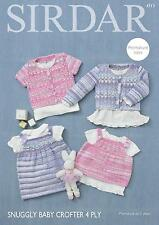 Sirdar 4713 Knitting Pattern Baby Cardigan Top Dress Snuggly Baby Crofter 4 Ply