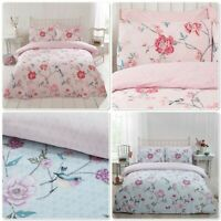 "Rapport ""Tranquility"" Birds & Flowers Duvet Cover Bedding Set Pink Or Duck Egg"