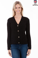 Chunky, Cable Knit V Neck Wool Button Women's Jumpers & Cardigans