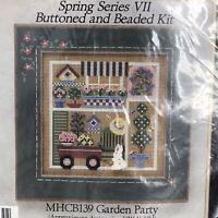 Mill Hill Beaded Cross Stitch Kit Vtg Spring Series VII Garden Party 1999