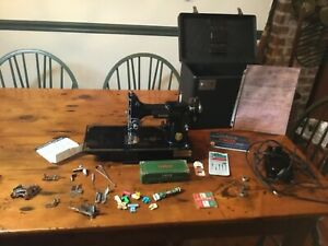 New Listing Pristine 221 Singer Featherweight Sewing Machine, Case, Pedal & more