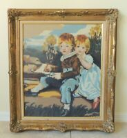 "Large 31"" Children Boy Girl Needlepoint Gold Gilt Wood Gesso Wall Picture Frame"