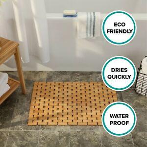 "Wooden Bamboo Bath & Shower Mat Creates Spa-Like Experience (24.75"" x 16.5"")"