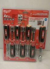 NIP MILWAUKEE TOOLS 48-22-2517 7PCS METRIC MAGNETIC HOLLOW CORE NUT DRIVER SET